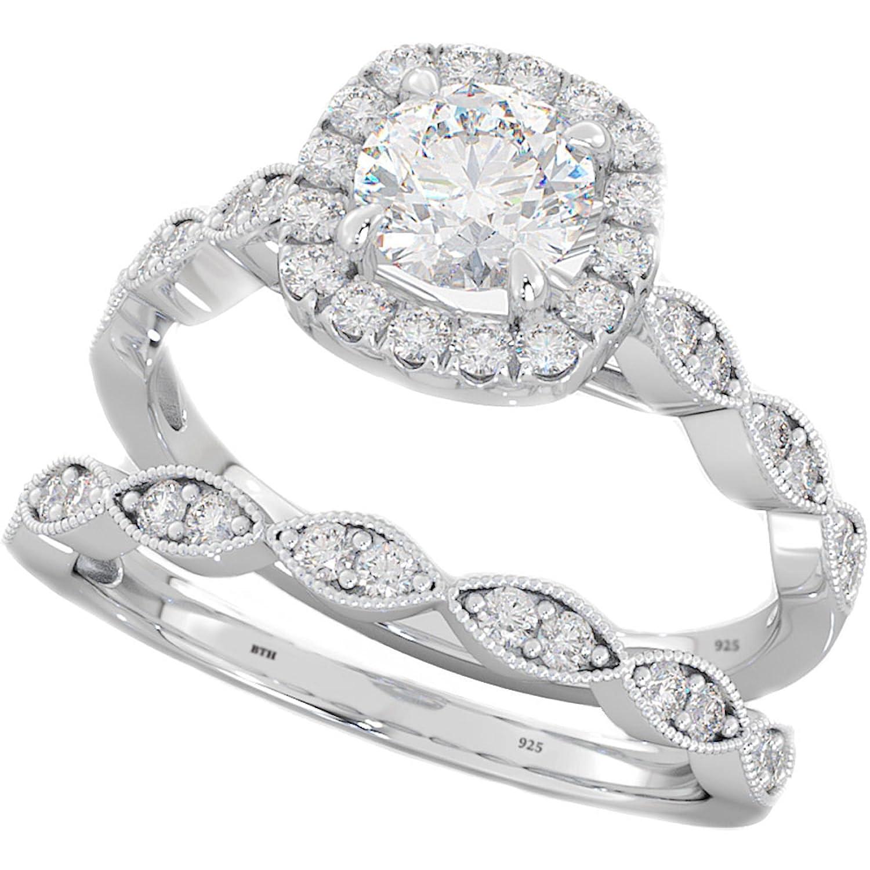 Ladies Ring - Halo Design 2 Piece Round Cut Genuine 925 Sterling Silver Luxury Unique Wedding Engagement Bridal Ring Set BestToHave 114