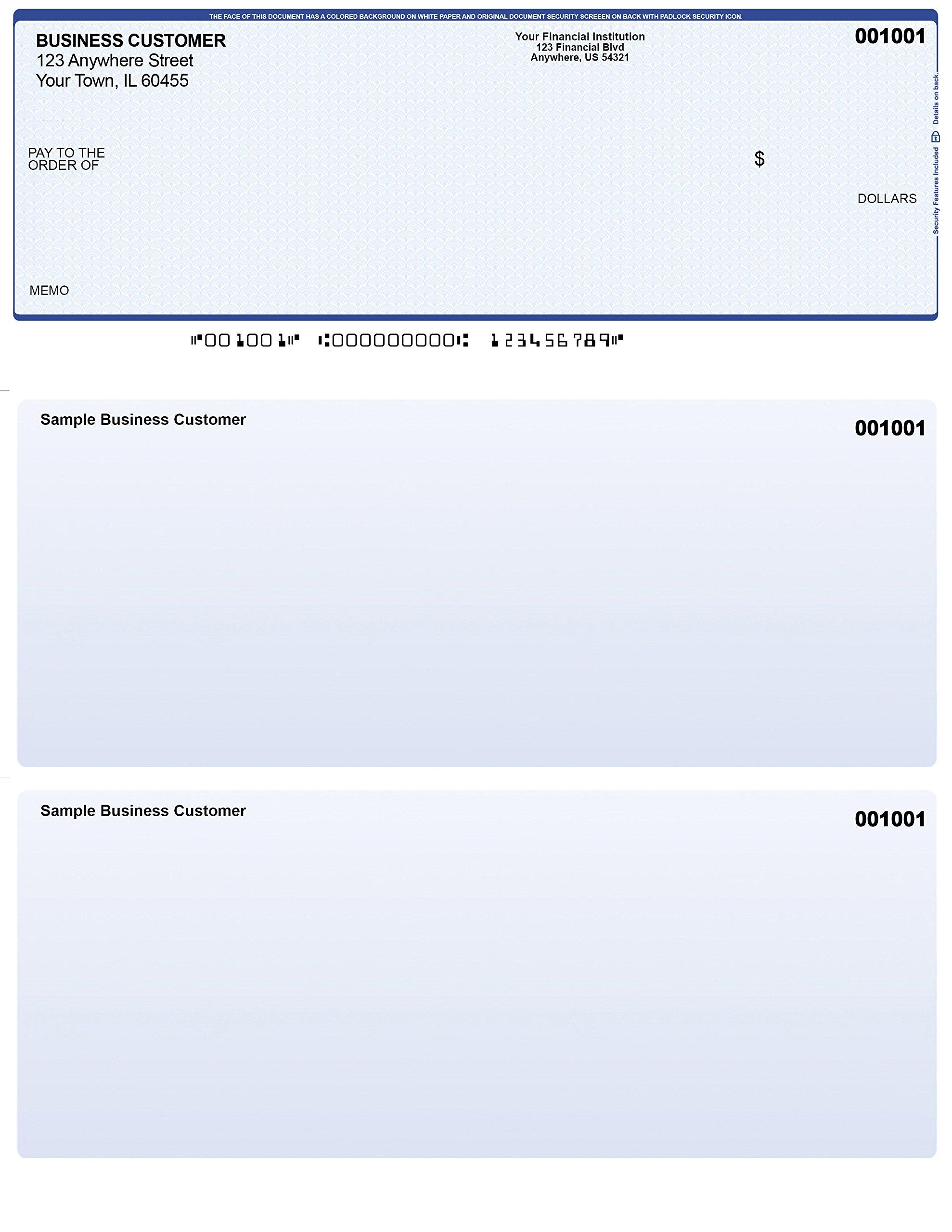 Blue Safety Computer Checks - 1,000 Printed Laser Computer Voucher Checks - Compatible for Quickbooks