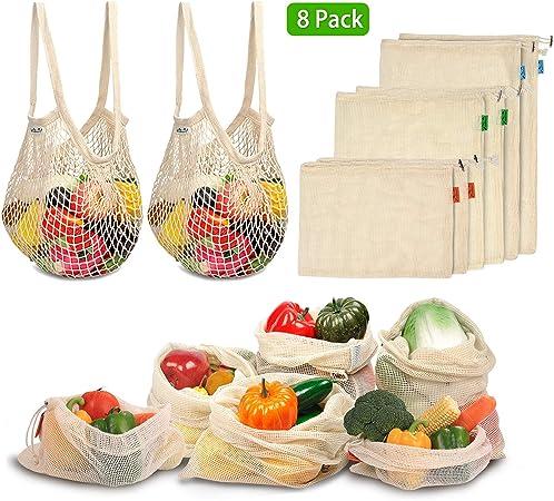 Viedouce Bolsas Compra Reutilizables, 8 PCS Bolsas de Malla Reutilizables Lavables, Bolsas de Algodon Reutilizables para Frutas Verduras,Reutilizable Producir Bolsas (2*S, 2*M, 2*L,2*XL): Amazon.es: Hogar