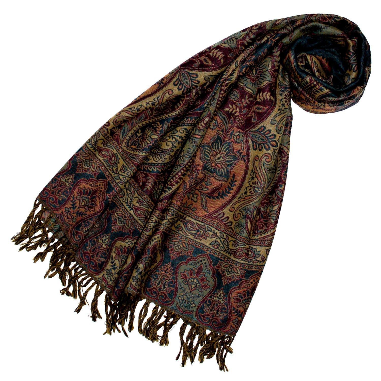 Lorenzo Cana - Luxus Pashmina Schal Schaltuch aus weicher Wolle Paisley Muster bunt mehrfarbig 70 x 190 cm Wollschal Wolltuch Stola Umschlagtuch 78197