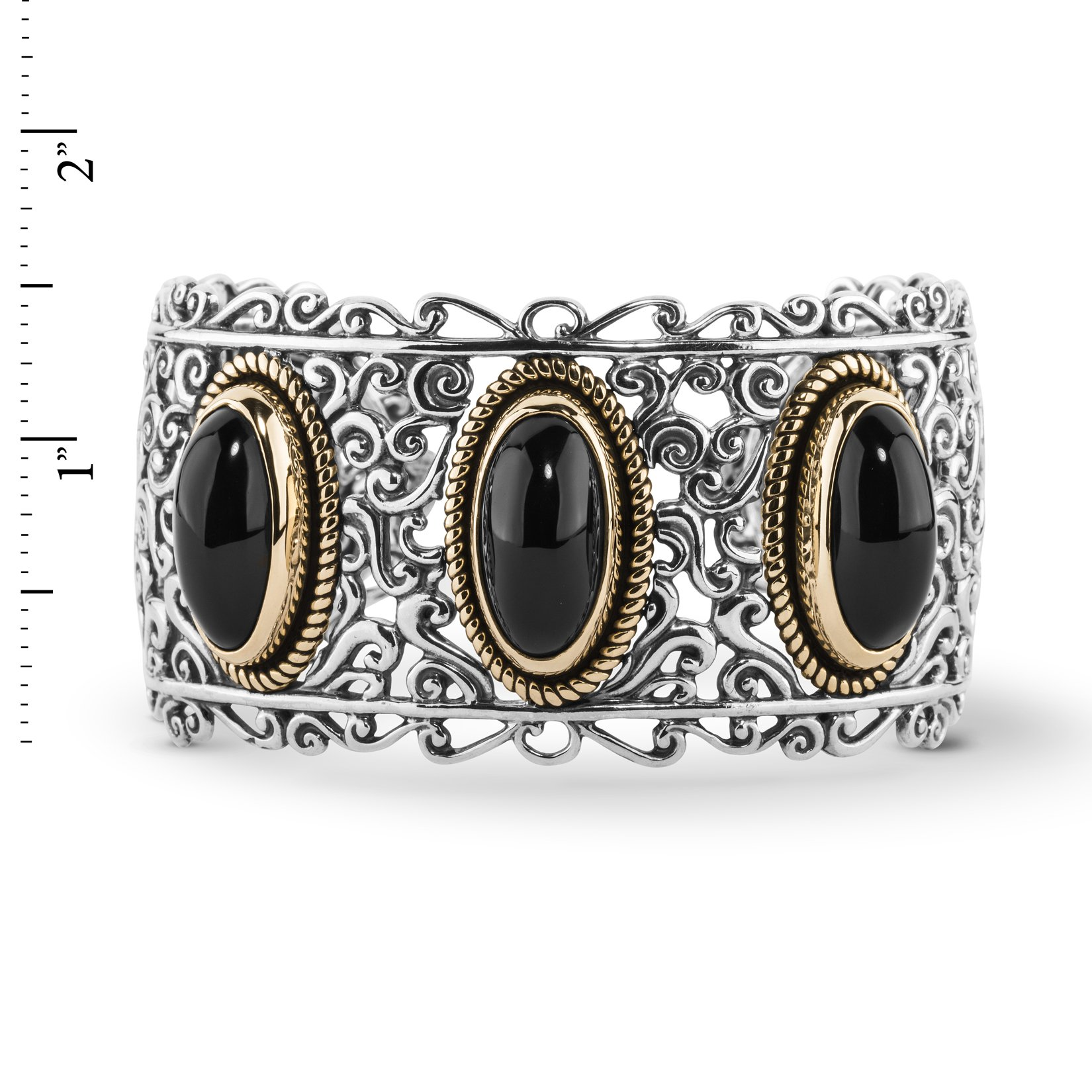 Carolyn Pollack Sterling, Brass, & Black Agate Bold Cuff Bracelet (Large) by Carolyn Pollack (Image #2)