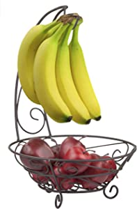 Home Basics Scroll Collection Steel Fruit Basket with Hanging Banana Tree, Perfect for Kitchen Countertop & Dining Room Table, Bronze