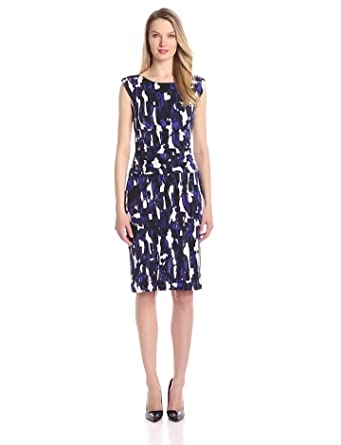 facf09809df Nine West Women s Cap-Sleeve Ruched-Waist Printed Madelyn Dress at ...
