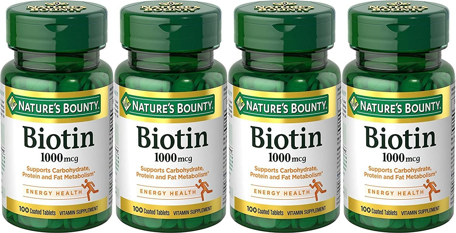 Nature s Bounty Biotin 1000mcg, 100 Tablets Pack of 4