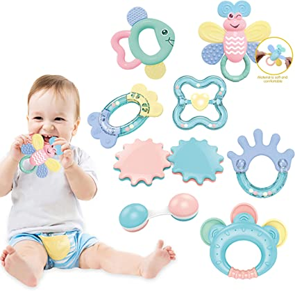 Newborn 6 Musical Toy Set 9 Early Educational Toys for 3 Grab and Spin Rattle 8 Pcs Shaker 12 Month Baby Infant WISHTIME Baby Rattles Teether Baby Toys
