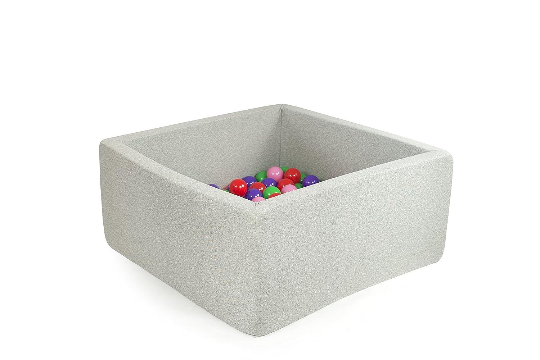Bällebad Bällepool Bällebecken Spielbälle Kugelbad Bällchenbad Spielbecken Ball Bällepool 200 Bälle 7 cm TÜV zertifiziert (Grau - Quadrat)