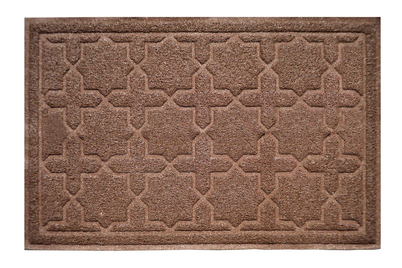 "XL 35"" x 23"" Door Floor Mat Indoor Outdoor Entrance Kitchen Bath Shower Garage Patio Non-Skid / Slip 100% Rubber Antibacterial Waterproof Flexible PVC - Use Anywhere Inside Outside (Star Cross, Brown)"