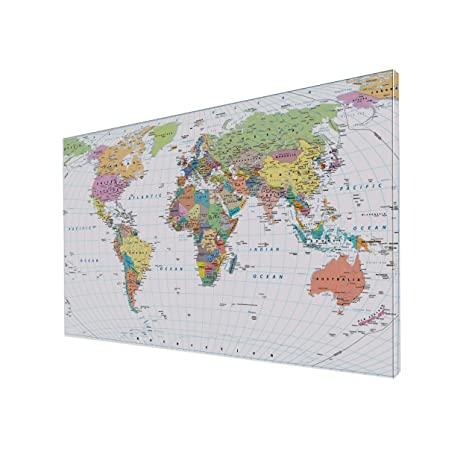brightmaison 79x55 Very Large World Map Wall Photo Art in Canvas Assembly  Required