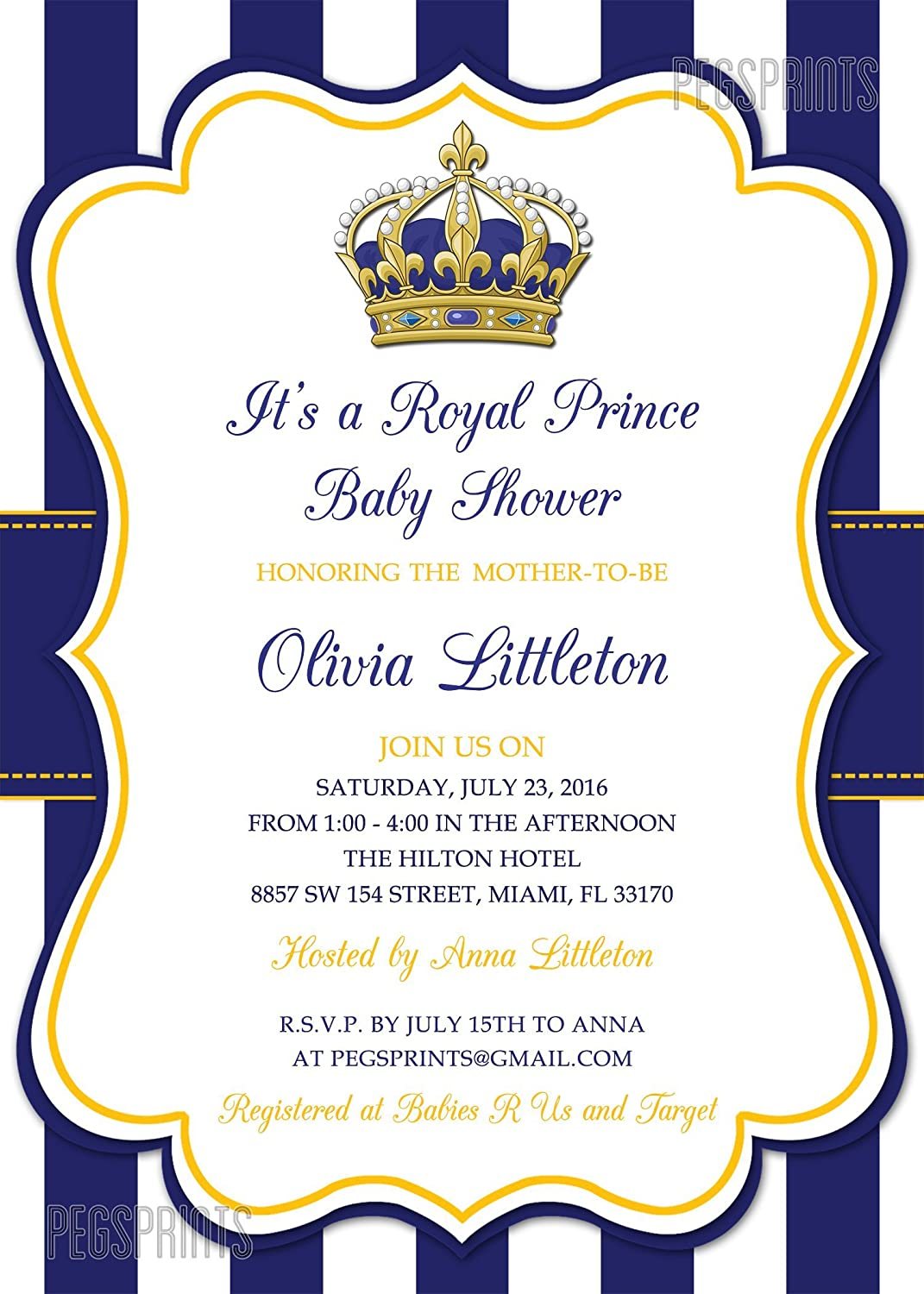 Amazon.com: Royal Prince Baby Shower Invitation - Prince Baby Shower ...