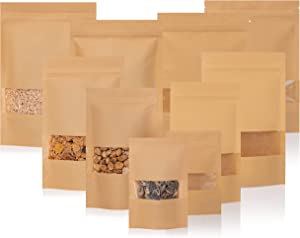 Kraft Stand Up Pouch Bags -75 Pack Resealable Brown Kraft Chenozon Bag with Clear & Transparent Window - Coffee, Snacks, Treats, Granola Containers - Food-Grade Paper & Plastic - 4.7 x 8 inches, 6oz
