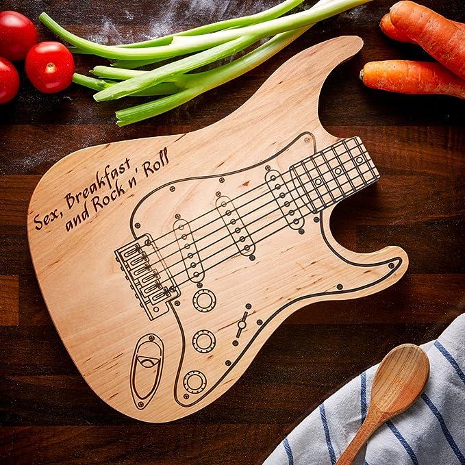 Compra Tabla de cortar Guitarra Eléctrica - Sex, Breakfast and RocknRoll - Standard - Tabla de cocina - Regalos de boda originales - Regalos para parejas ...