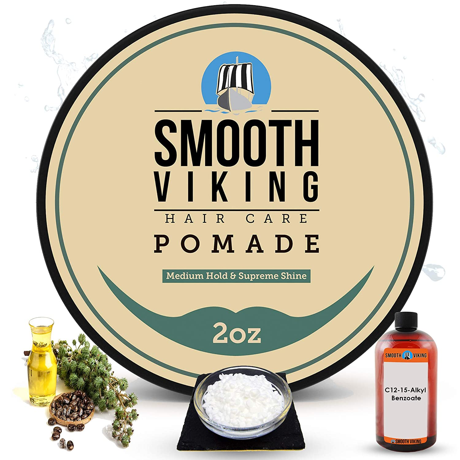 Amazon Com Pomade For Men Medium Hold High Shine Hair Styling Formula For Straight Thick And Curly Hair 2 Oz Smooth Viking Beauty