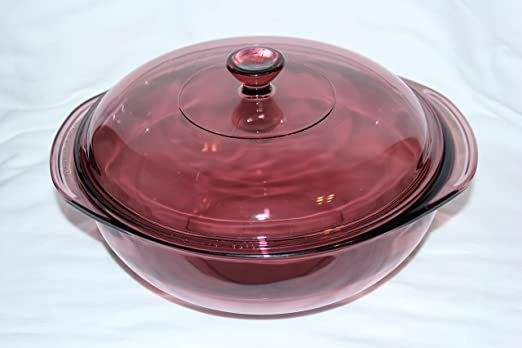 Amazon Com Pyrex Round Glass 2 Qrt Covered Casserole In Originals Cranberry W Lid Kitchen Dining