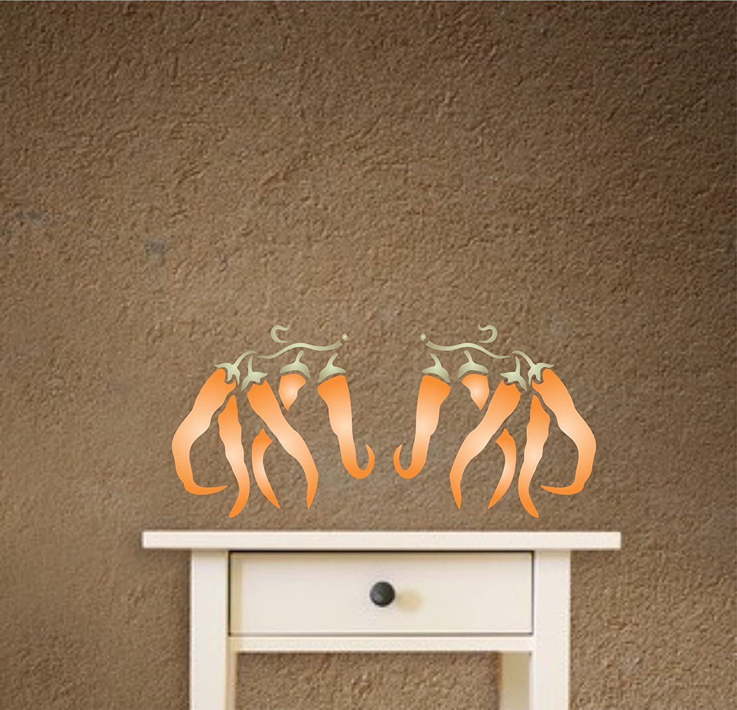 """Chili Pepper Stencil - and More/… Glass Use on Walls Terracotta Fabrics Best Quality Vegetable Kitchen Stencil Ideas size 5/""""w x 5/""""h Wood Reusable Wall Stencils for Painting Floors"""