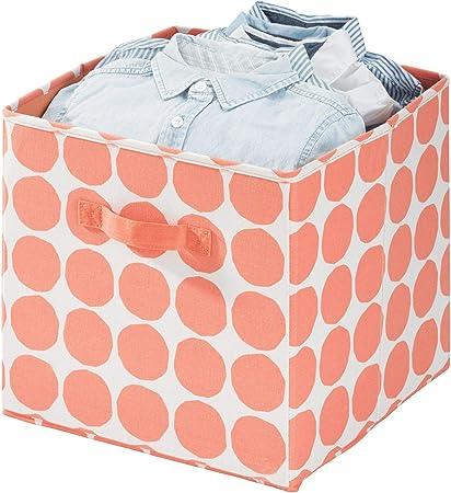 Contenitore Mix Cotone e Poliestere con 2 Manici Laterali Portaoggetti Tessuto a Pois per armadi e Altro iDesign Cubo Misura Media Blu x 33,0 cm