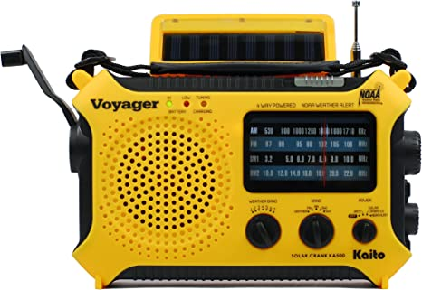Kaito KA500 5-way Powered Solar Power,Dynamo Crank, Wind Up Emergency AM/FM/SW/NOAA Weather Alert Radio with Flashlight & Cellphone Charger