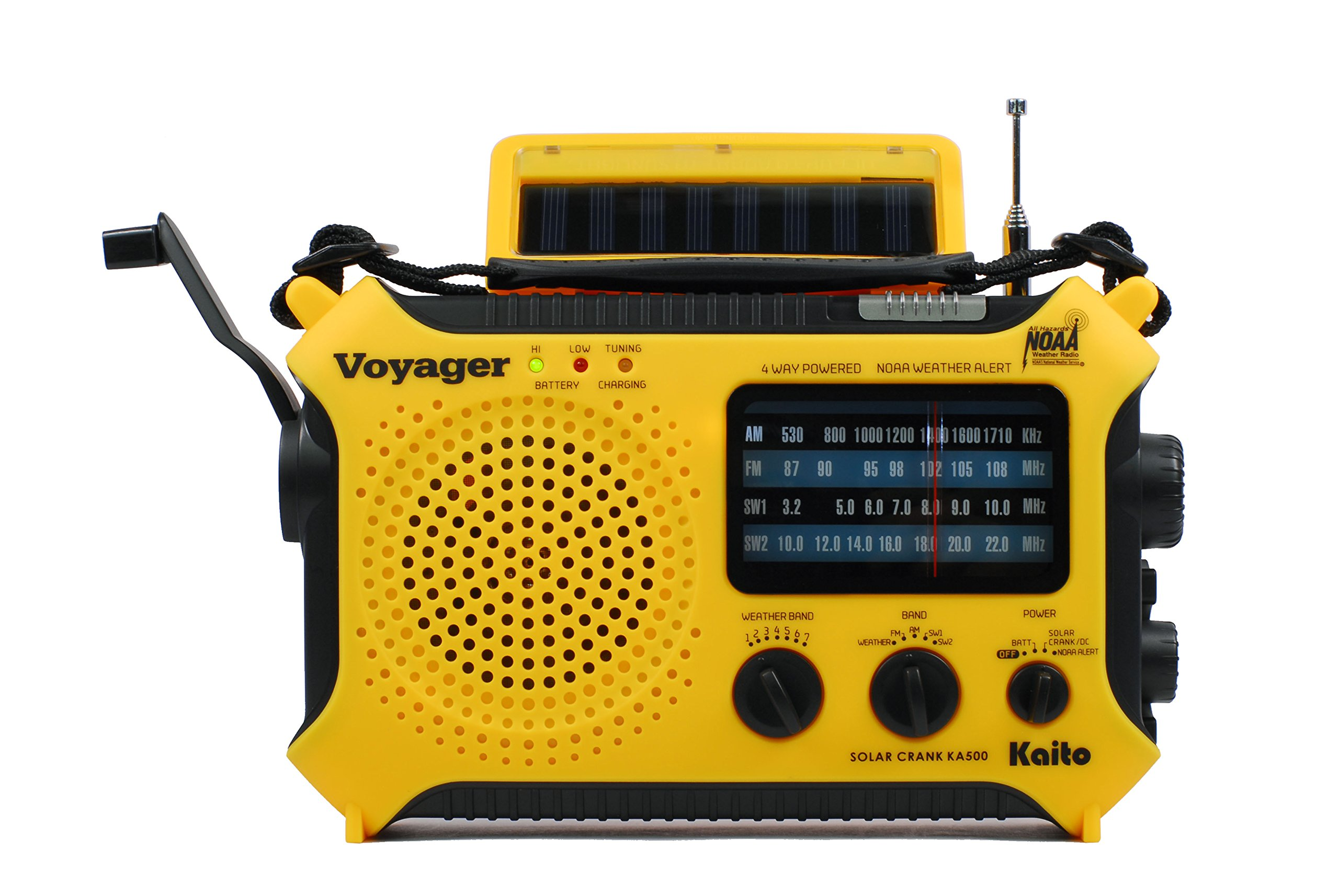 Kaito KA500 5-way Powered Solar Power,Dynamo Crank, Wind Up Emergency AM/FM/SW/NOAA Weather Alert Radio with Flashlight,Reading Lamp and Cellphone Charger, Yellow by Kaito