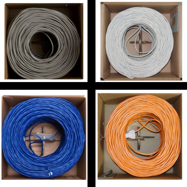 CAT6 1000FT UTP Orange \ Blue \ Gray \ White Solid 23 AWG Cable Pull Box 550MHz
