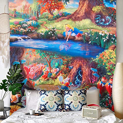 Simsant Alice Tapestry Fairy Tale Princess Sleepwalk Castle Fairyland Meets Mr. White Rabbit and Feast 84x90inch Oversized Fairy Peach Skin Tapestry Girl Boy Fairy Kingdom Bedroom Wind Decor GTHXSI235