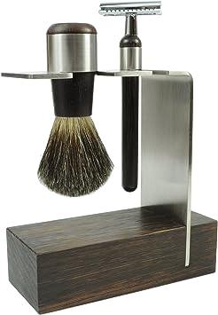 Golddachs - Juego de afeitado con brocha de afeitar (100% pelo de tejón, maquinilla de afeitar clásica, madera de wengué/acero inoxidable, 1 pack de 2 unidades): Amazon.es: Salud y cuidado personal