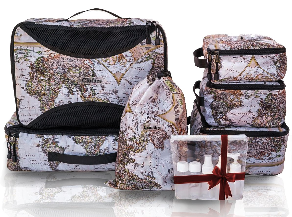 I&P 6 Packing Cube: Nylon Travel Organizers:M,L,XL ,Laundry,Shoe,Toiletry+bonus