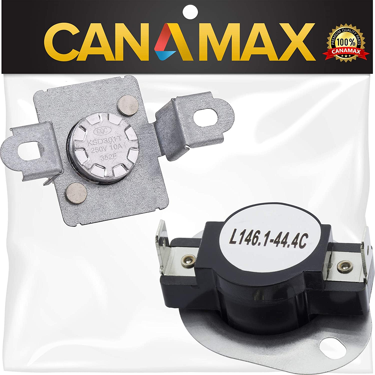 279973 Dryer Thermal Cut-Off Fuse Kit Premium Replacement by Canamax - Compatible with Whirlpool & Kenmore Dryers - Replaces 3391913 8318314 AP3094323