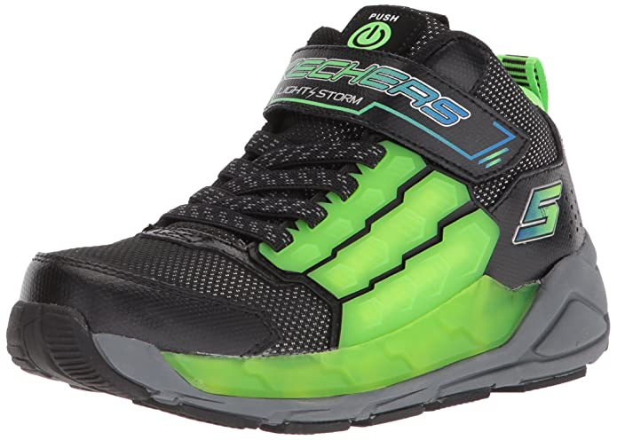 Skechers Kids Boys' Light Storm Sneaker, Black/Lime, 1 Medium US Little Kid