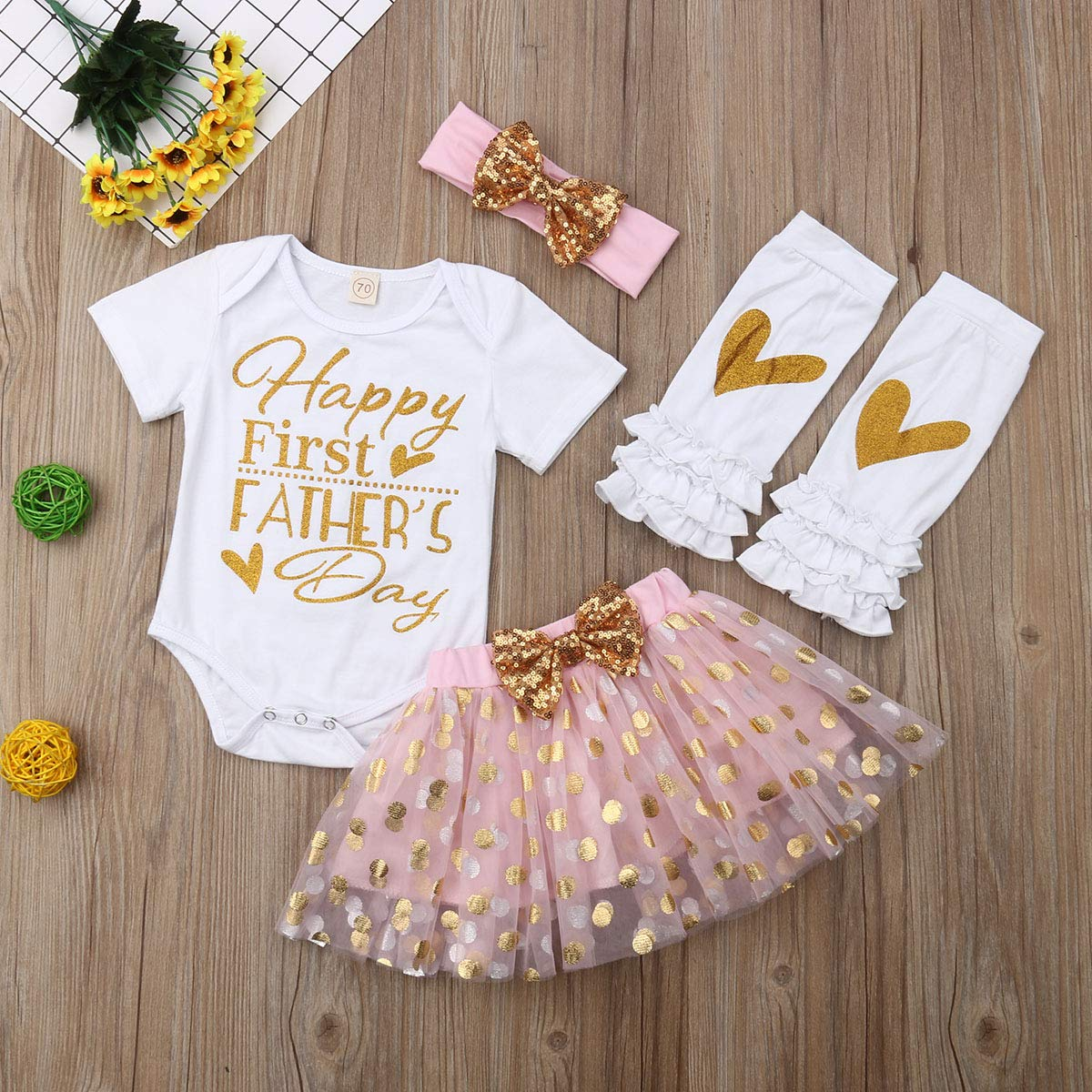 Bulingna 3Pcs//Set Newborn Infant Baby Girl Mothers Day Outfit Romper Tops+Heart Pants+Headband Summer Clothes