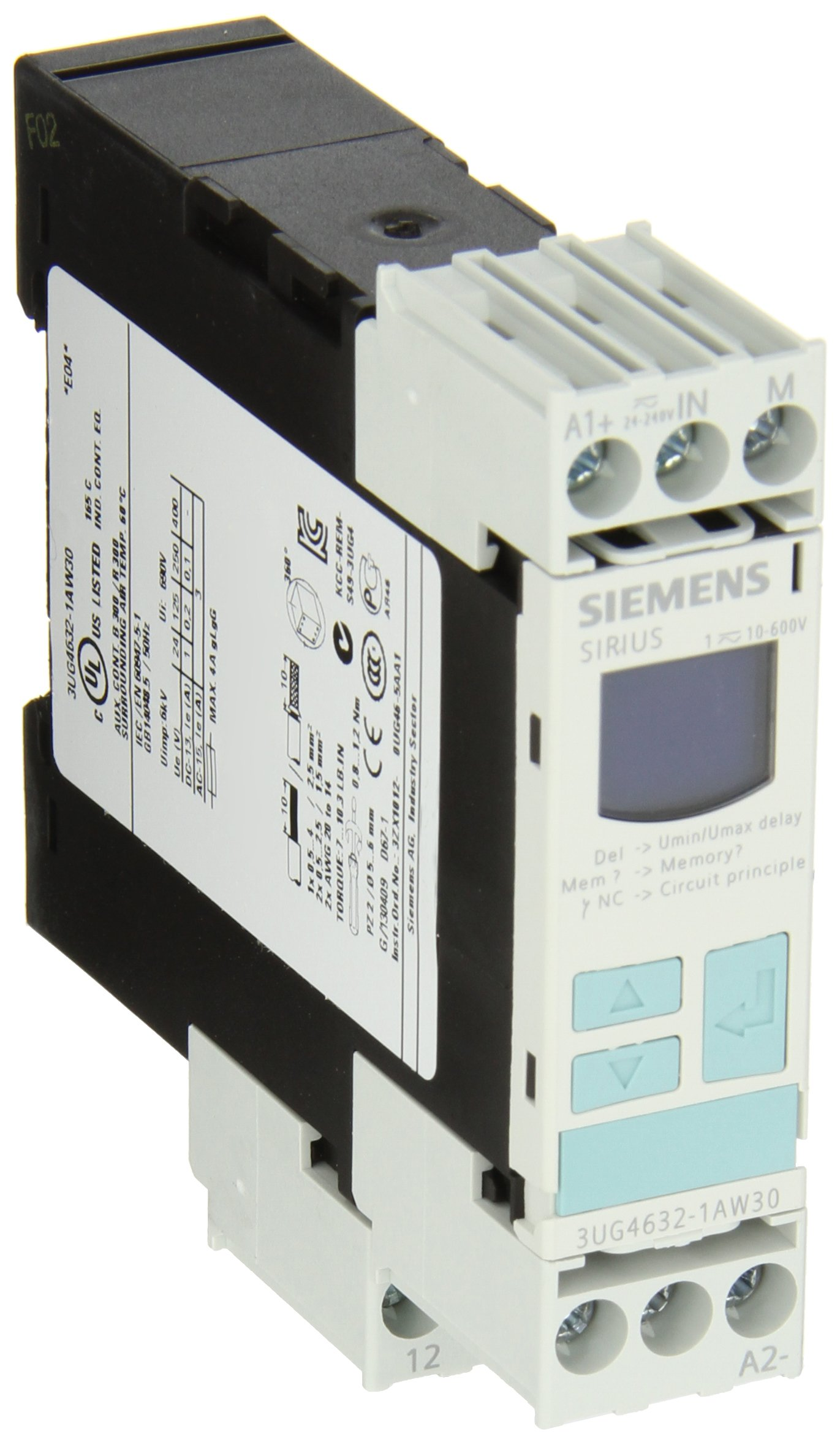 Siemens 3UG4632-1AW30 Monitoring Relay, Single Phase Voltage Monitoring, Screw Terminal, 1 CO Contacts, 10-600VAC/DC Measuring Range, 0.1-300V Hysteresis, 0-20s Delay Time, 24VAC/DC Auxiliary Voltage