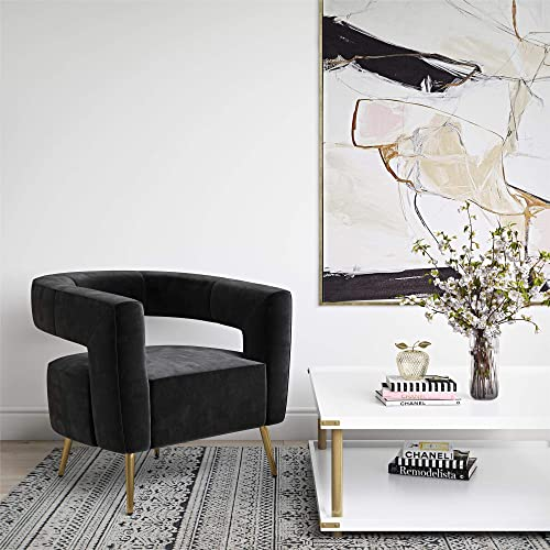 CosmoLiving by Cosmopolitan CosmoLiving Taylor, Black Velvet with Brass Golden Legs Accent Chair