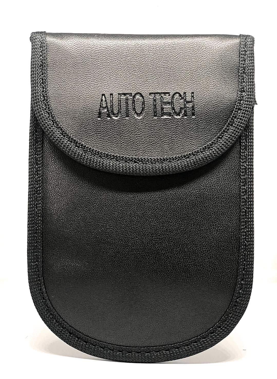 Auto Tech Car Key Signal Blocker Pouch, RFID Blocking Faraday Bag Pouches for Keyless Car Theft Prevention   Signal Blocking Wallet for Car Keys & Credit Cards - PU Leather Case - Black (2) Digideals UK