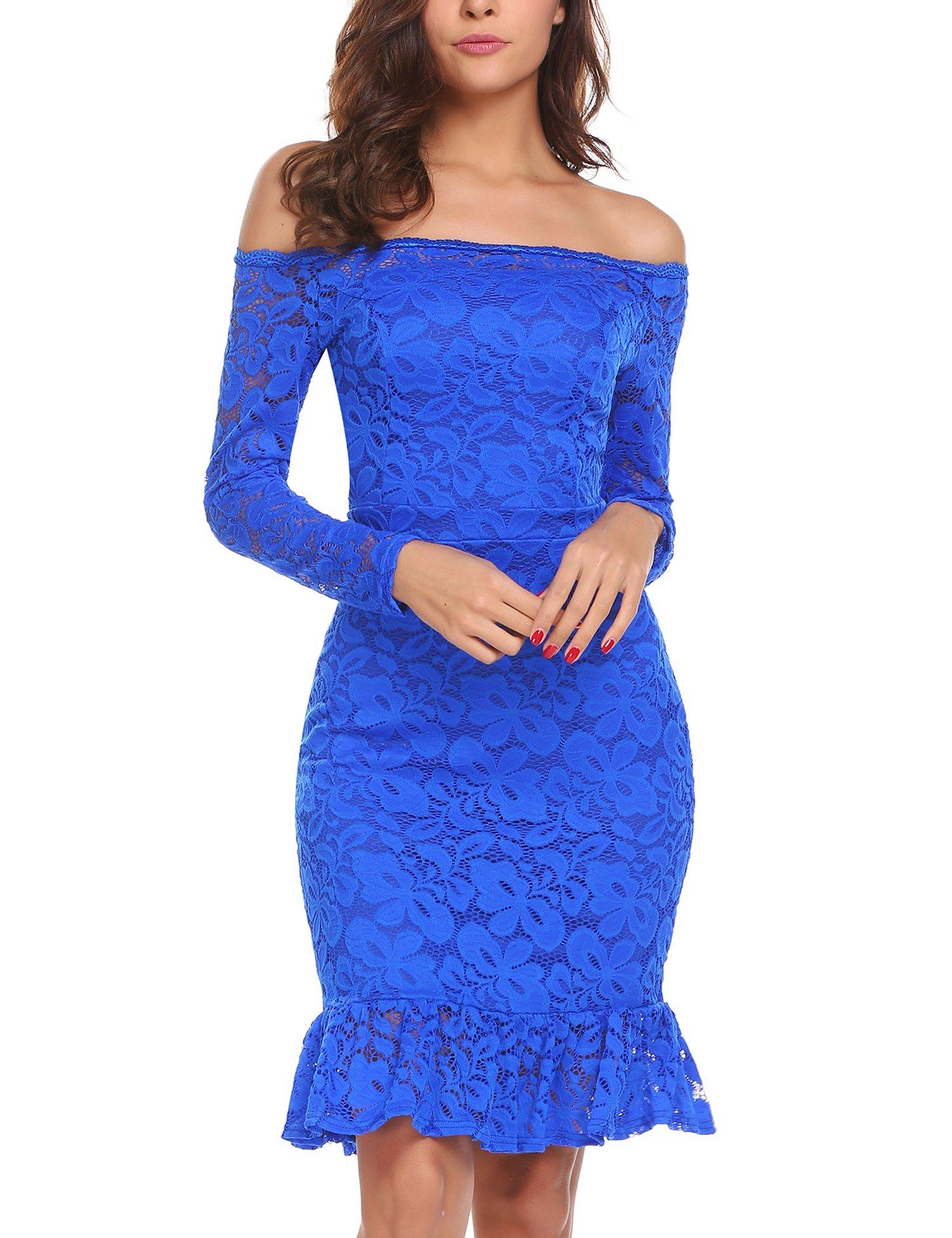 ANGVNS Women's Retro Floral Lace Long Sleeve Slim Evening Cocktail Mini Dress Royal Blue M