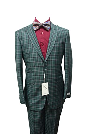 Men's L&S Modern Fit Green and Burgundy Check Design Wool Suit (46L-40W)