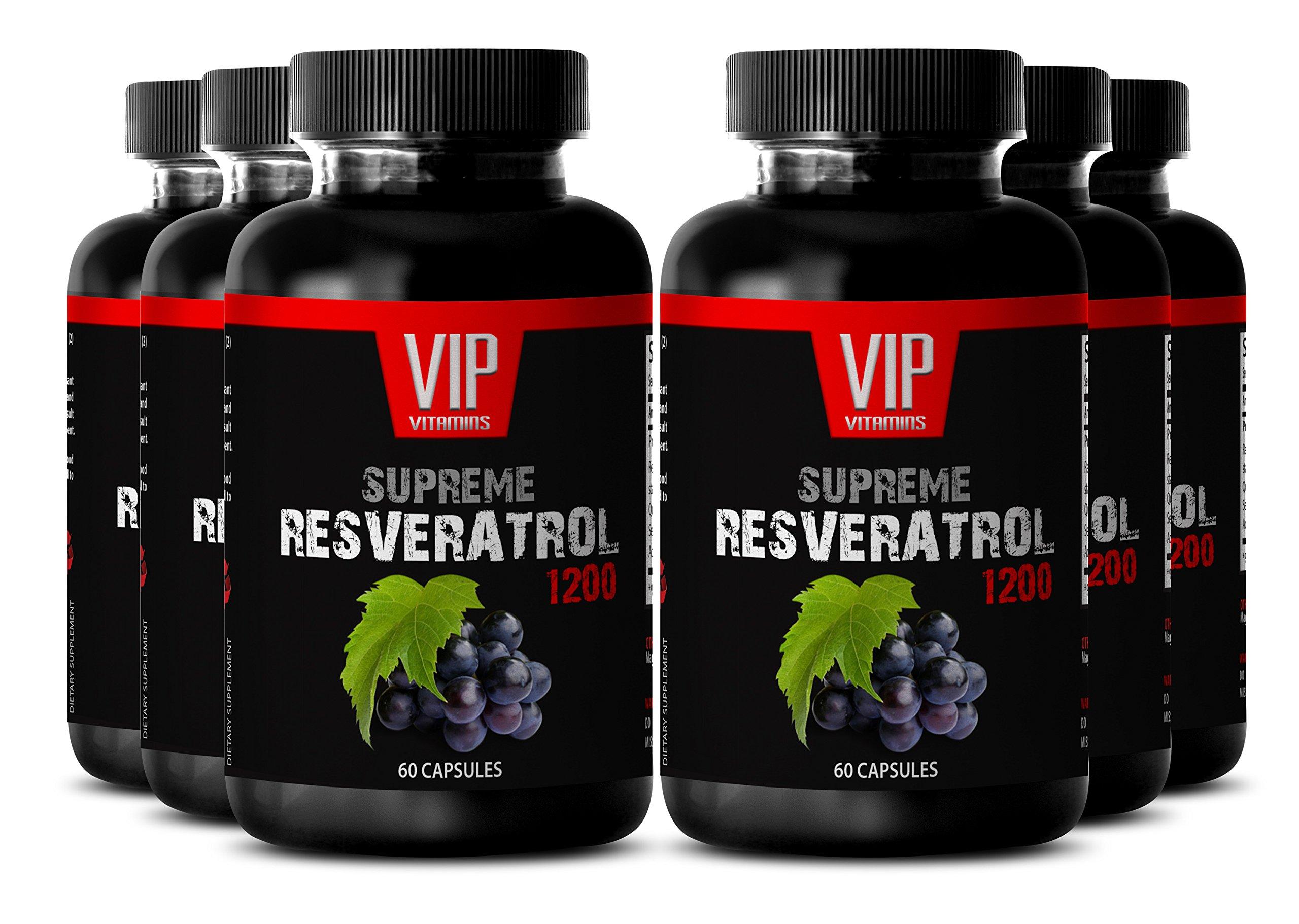 Resveratrol Premium Powder 1200mg - Premium Red Wine Extract - Maximum Strength Super Blend (6 Bottles 360 Capsules)
