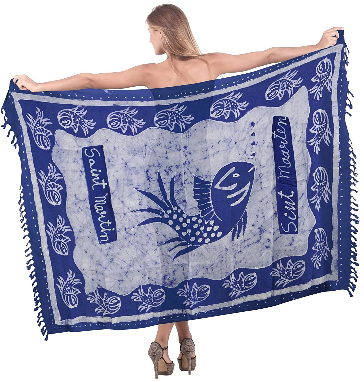 La Leela Seefisch sanft Rayon Hand Batik blau alles in einem /Badeanzug/beach loung Abnutzung/Badeanzug oben/Tunika/sundress/Bikini Schlitz Rock abdecken/Damen Pareo/Sarong Kleid 198x99 cm wickeln