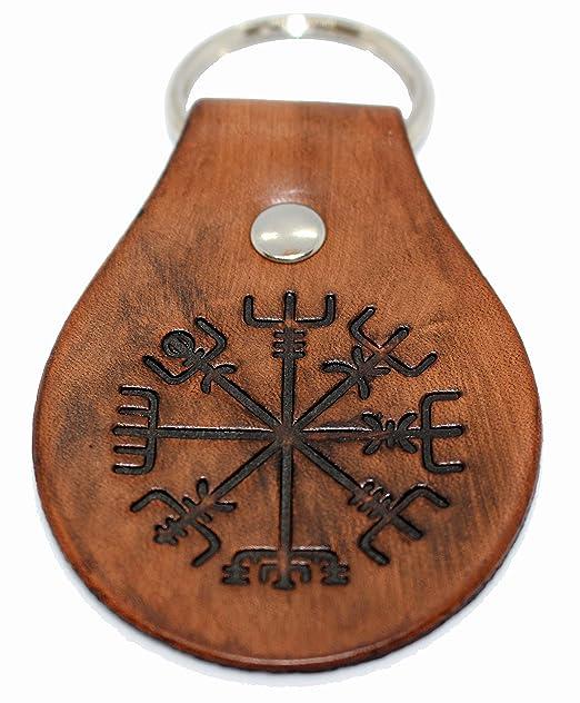 Amazon.com: Llavero de brújula vikinga Vegvisir de cuero ...