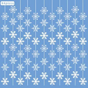 Monyus 84 Pieces Snowflake Hanging Garland White Snowflakes Decoration Supplies for Winter Wonderland Christmas Birthday New Year Party