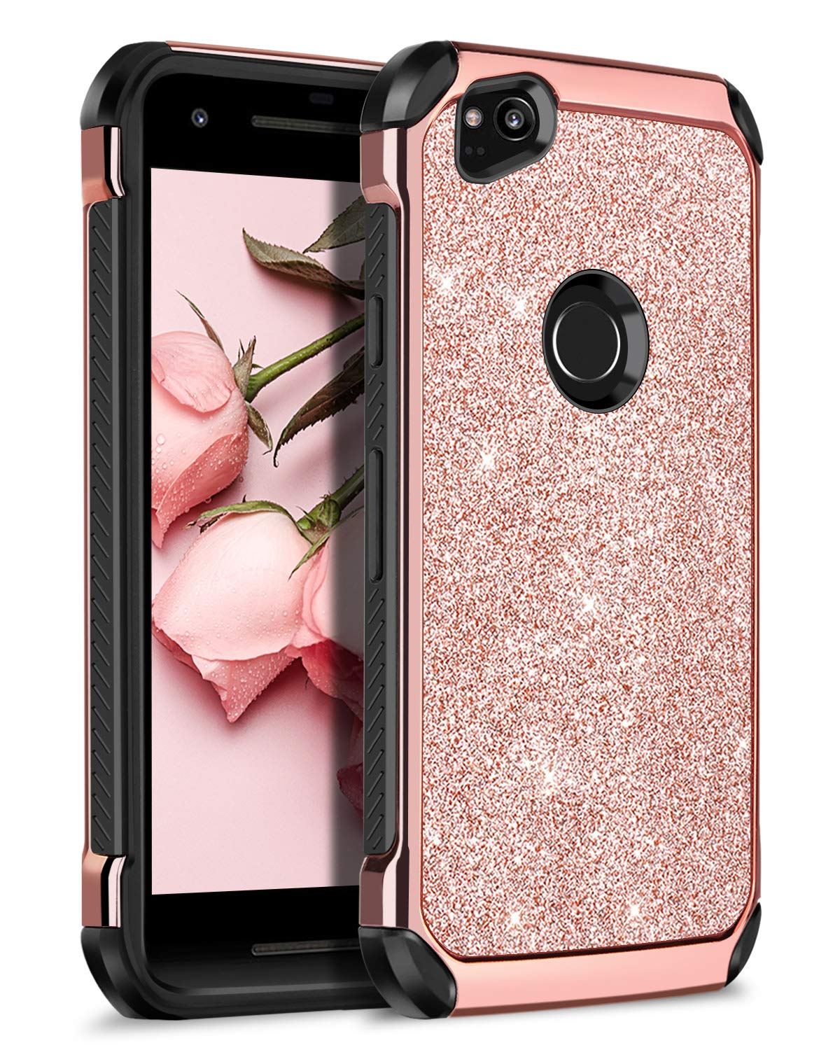 Google Pixel 2 Case, BENTOBEN Phone Case for Google Pixel 2, Bling Sparkly Shiny Glitter Design Slim 2 in 1 Hybrid Soft TPU Bumper Hard PC Cover with PU Faux Leather Shockproof Protective Phone Cases for Girls Women - Rose Gold