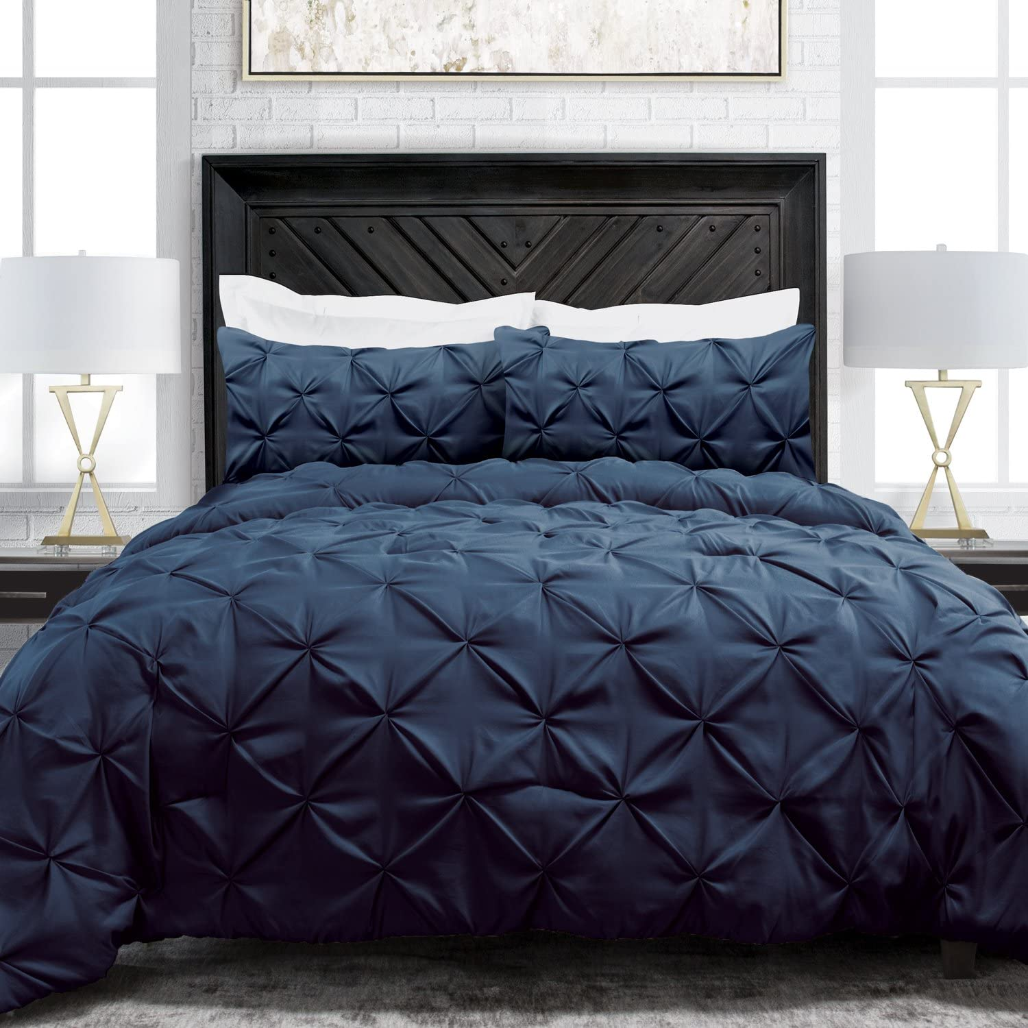 Sleep Restoration Pinch Pleat 3-Piece Luxury Goose Down Alternative Comforter Set - Premium Hypoallergenic All Season Pintuck Style Duvet Set - King/Cal King - Navy