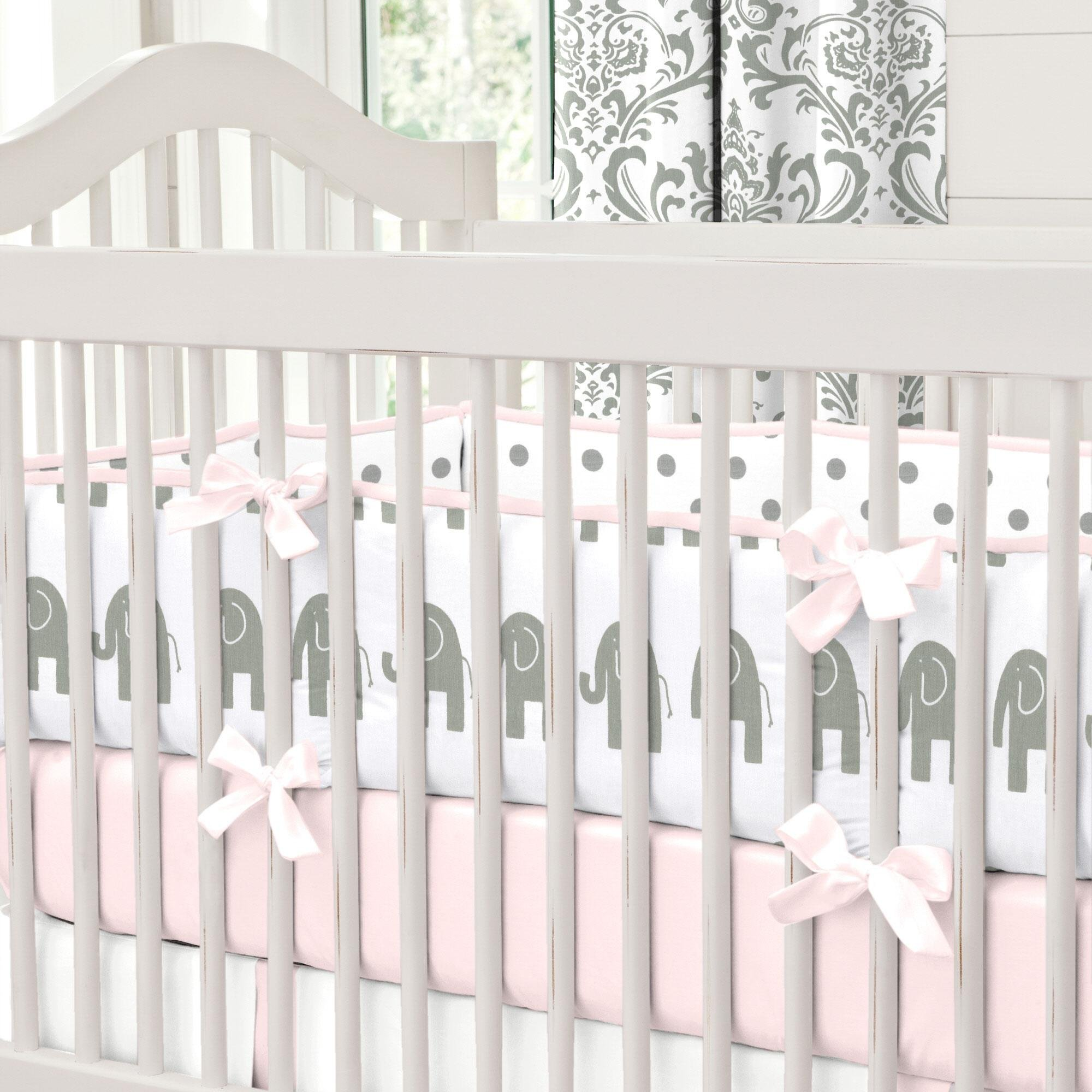 Carousel Designs Pink and Gray Elephants Crib Bumper