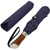Balios (Designed in UK Travel Umbrella | Luxurious Golden Rosewood Handle | Auto Open & Close | Windproof Frame | Single Canopy | Automatic Folding Umbrella | Men's & Ladies