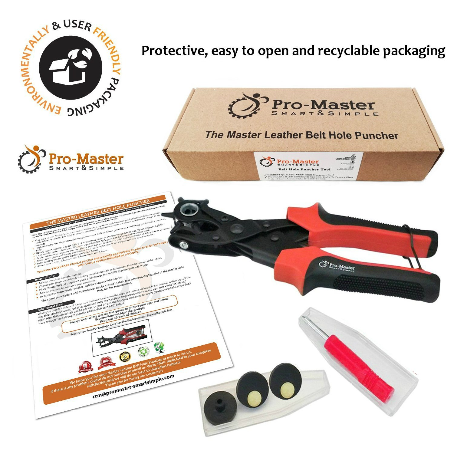 Best Leather Hole Punch Set for Belts, Watch Bands, Straps, Dog Collars, Saddles, Shoes, Fabric, DIY Home or Craft Projects. Super Heavy Duty Rotary Puncher, Multi Hole Sizes Maker Tool, 3 Yr Warranty by ProMaster (Image #7)