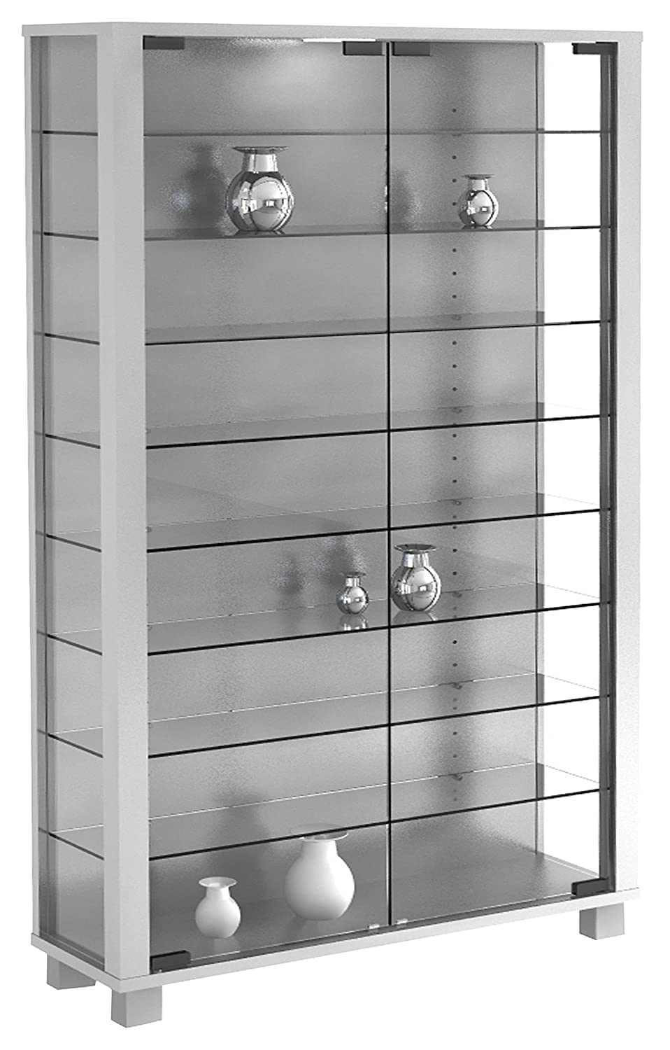 VCM Stand Cabinet Lumo Mini Silver/with LED Lighting 906135