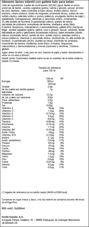 Nestlé Junior Alimento Lácteo Infantil con Galleta, Listo para ...