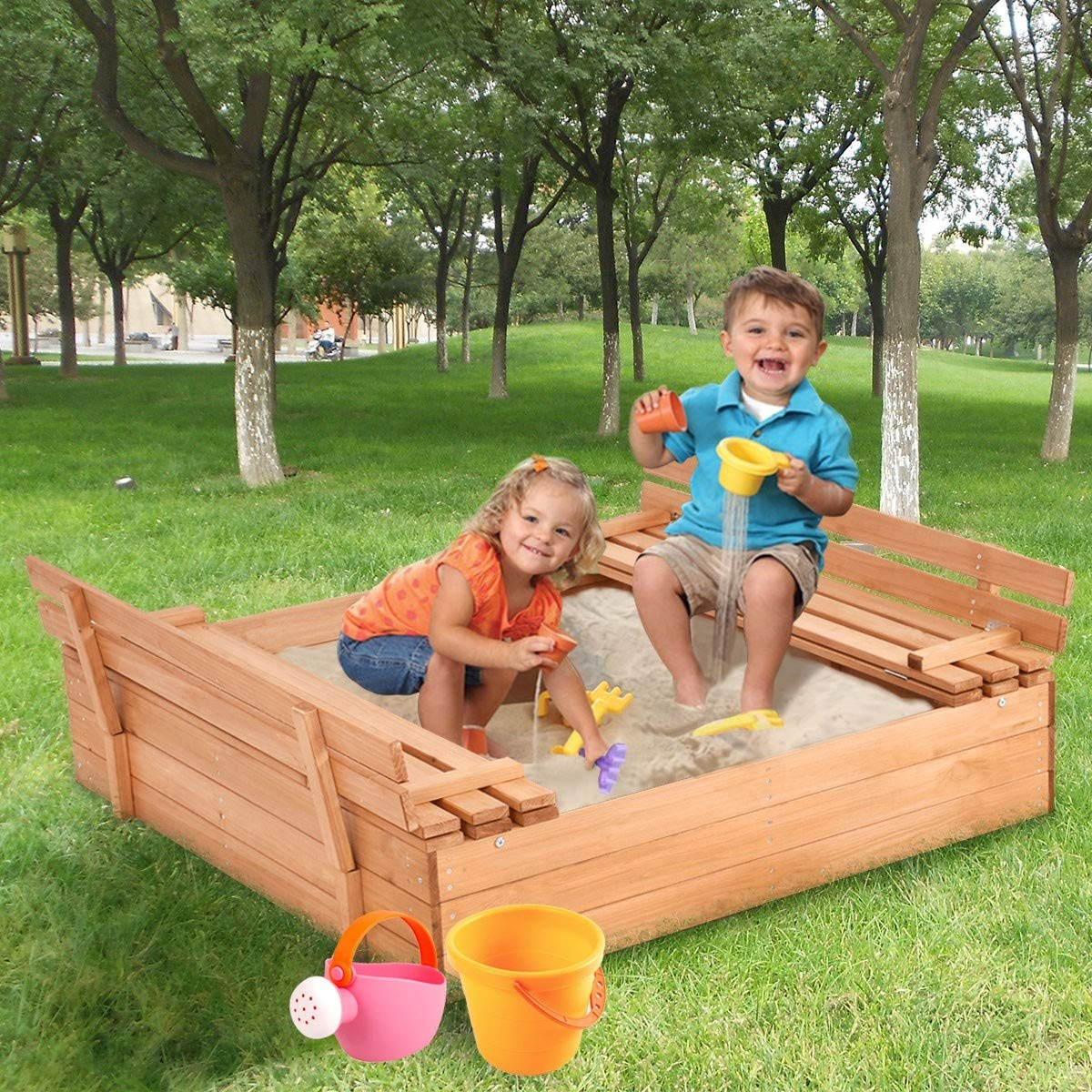 USA_BEST_SELLER Children Outdoor Foldable Retractable Sandbox Bench Seat Box by USA_BEST_SELLER (Image #3)