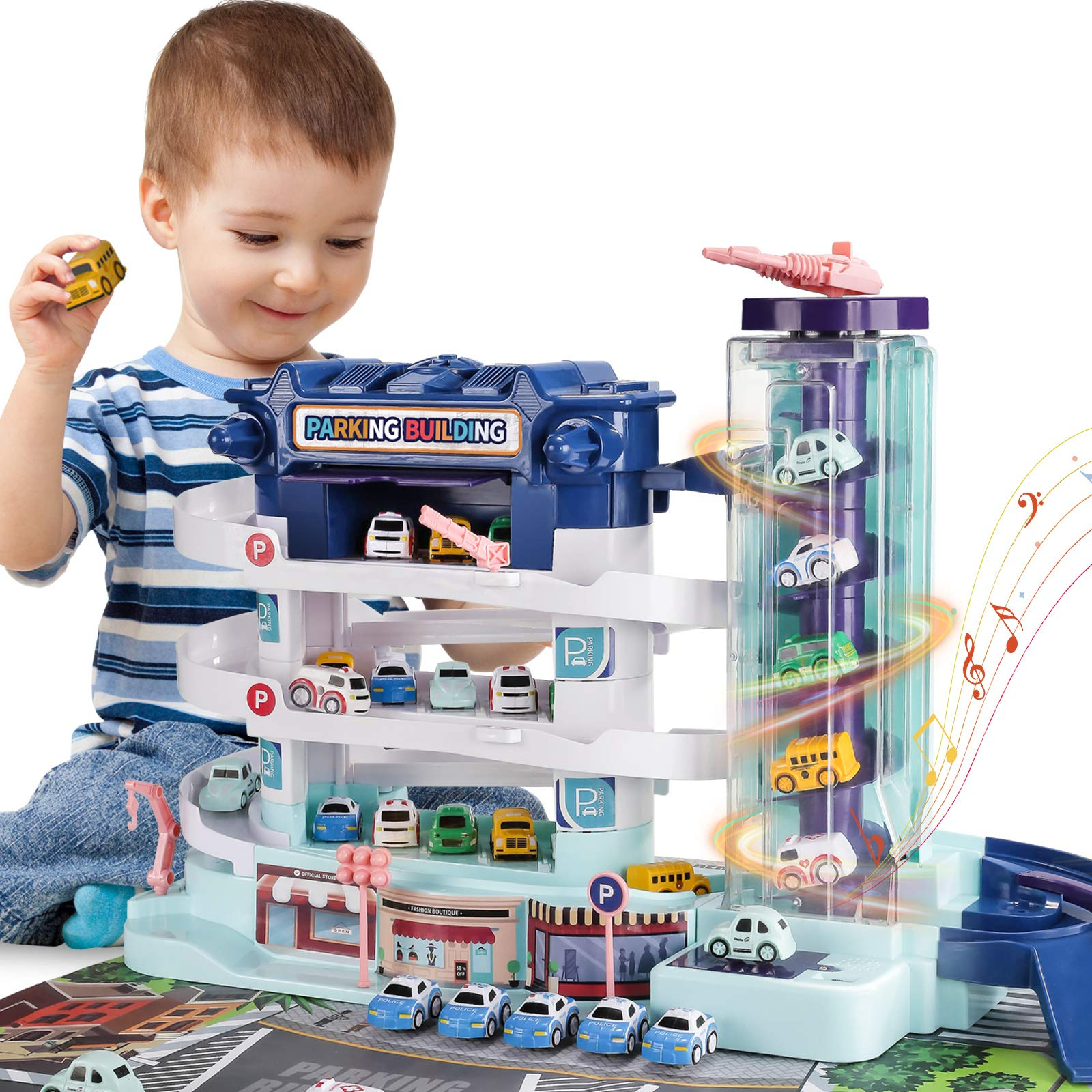 BABYHOME Race Car Track Garage - 2 in 1 Electric 3-Story Parking Building w/ Elevator Light & Sound 4 Mini Cars, Toy Vehicle playset for 3 4 5 Years Old Boys Girls