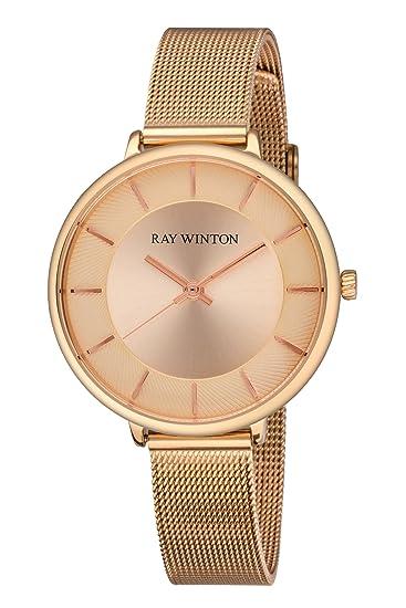 Ray Winton wi0814 analógica de la mujer Champagne Dial Oro rosa pulsera de malla de acero