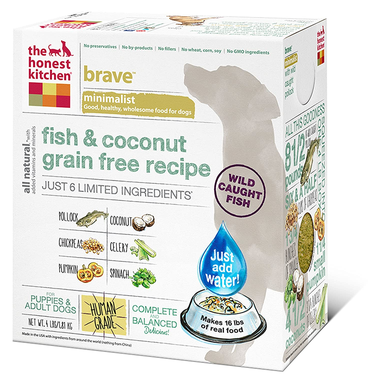 The Honest Kitchen Brave Grain Free Dog Food   Dehydrated Minimalist  Limited Ingredient Dog Food, Fish U0026 Coconut, 4 Lbs (Makes 16 Lbs): Pet  Supplies: ...