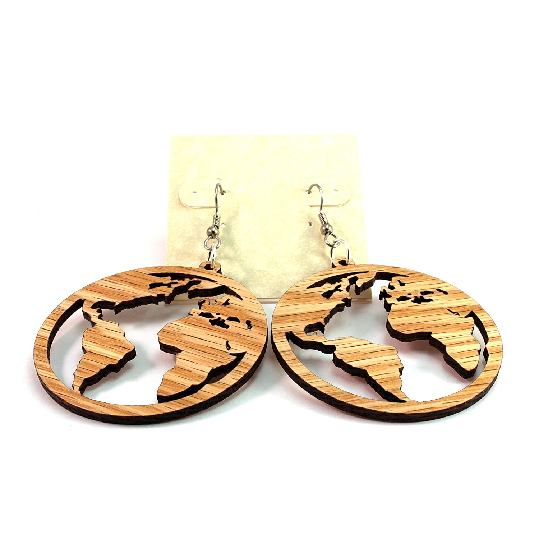 Mother Earth Large 2 - Hook Dangle Drop Earrings Globe Earrings made of Sustainable Oak Wood Travels