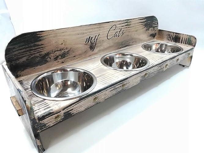 Comedero triple diseño vintage: Amazon.es: Handmade